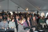 Despite chilly weather, a crowd gathers to welcome M. Ward, Governor Rendell and Congressman Shuster.